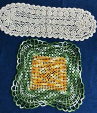 Two Hand Crocheted Table Toppers, Square and Oval
