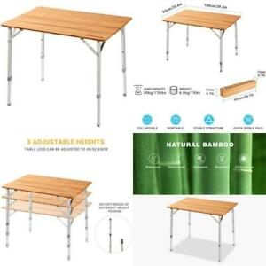Kingcamp Bamboo Folding Table Portable Picnic Camping Table With Carry Bag 4 Fol