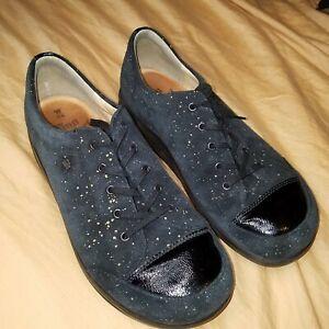 Finn Comfort Black Suede Gold Speckle Shoes 8.5 W