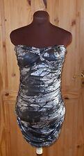 WEST ONE black silver stretch strapless wiggle bodycon short mini party dress 12