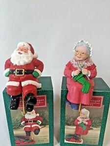 Vintage Hallmark Mr & Mrs Santa Claus Stocking Hanger Set