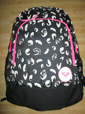 NEW✿ ROXY BACKPACK BOOK SCHOOL STUDENT Laptop Tablet Pouch Black White Animal