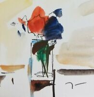 """JOSE TRUJILLO ORIGINAL Watercolor Painting SIGNED Small 3x3"""" Bouquet Red Flowers"""