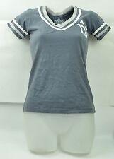 MLB New York Yankees Red Jacket Women Small Grey Tshirt Stripes V Neck Tee NY