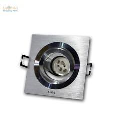 5x GU10 proyector empotrado, Foco empotrable anguloso aluminio cepillado 230v