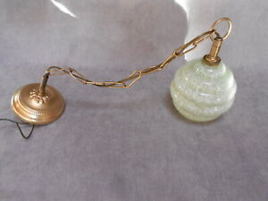 Vintage French  hanging lighting fixture Green SOM glass Shade