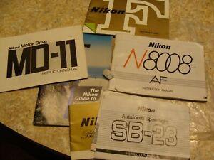Vintage Bundle of Nikon Camera Manuals 6 Booklets