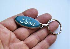 Ancien porte clé métal et époxy Automobile Ford Garage Station Années 60