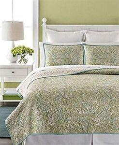 Martha Stewart Standard Pillow  Sham  Painted Paisley Quilted Green,White - NIP
