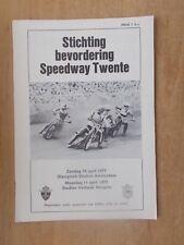 STICHTING BEVORDERING SPEEDWAY TWENTE APRIL 10th 1977 AMSTERDAM PROGRAMME