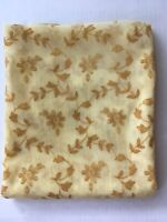 Vtg Flocked Floral Sheer Curtain Panel 40 x 44 Gold Daisy Flowers Craft Fabric
