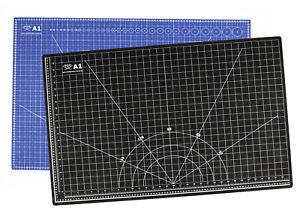 Profi Schneidematte Bastelmatte Din A1 oder Din A2 cm/inch, blau/schwarz
