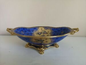 """Art Deco Carlton Ware """"Swallow and Cloud"""" Footed, Twin Handled Bowl"""