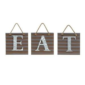 Wall Sign Kitchen EAT Decor Home Art Plaque Farmhouse Rustic Metal Letter Tile