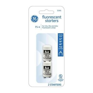 GE FS-4 2-Pack Fluorescent Automatic Starters For 13w, 30w, 40w, T12, #31561