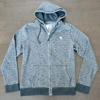 New Abercrombie & Fitch Mens Dark Gray Full Zip Textured Icon Hoodie Size Small