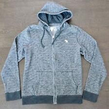 New Abercrombie & Fitch Mens Dark Gray Full Zip Textured Icon Hoodie Size Medium
