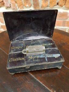 Early 19thC English Antique Toleware Spice Tin & Original Grater Kitchenalia