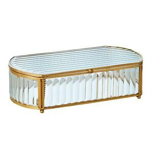 Luxe Vintage Style Ribbed Glass Decorative Box 9 in Reeded Gold Edge Oval