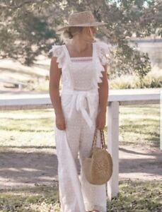 Ministry of Style Embracing Me white broderie anglaise open back jumpsuit sz 8