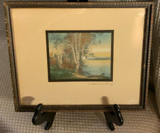 VTG Wallace Nutting Print Signed Matted Framed Birch Trees & Canoe SMALL 8'5""
