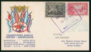 MayfairStamps 1943 to San Salvador El Salvador TACA Nicaragua First Flight Cover