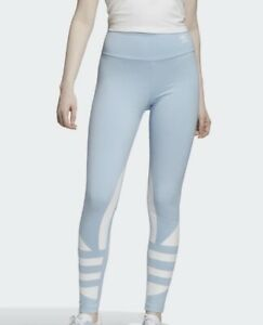 Adidas Large Logo (Women's Size L) Athletic Light Leggings Blue Pants