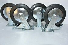 """4x8"""" Black Castor/ Swivel & Rigid Wheels With Break for Heavy Duty Trolley/Dolly"""
