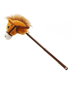 """Linzy Hobby Horse, Galloping Sounds with Adjustable Telescopic Stick, Brown 36"""""""