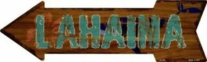 "Lahaina Hawaiian Themed Novelty Metal Arrow Sign 17"" x 5"" Wall Decor - DS"