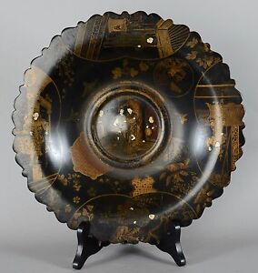 Antique Chinese or Japanese Black Lacquer Plate with Gold Gilt Decoration