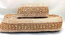 Fancy Lace Trim Silvery Copper Gold Ribbon Craft Wedding Saree Border by 1 Yard