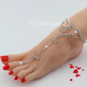 Silver Barefoot Sandal Anklet Foot Chain Toe Ring Beach Ankle for Women UK