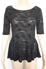 [FREE PEOPLE] NEW Black Short Sleeve Lace Peplum Top - Size M