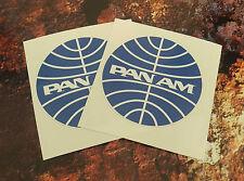 X 2 pan am compagnie aérienne autocollants rétro vintage 75MM round 7-10 an vinyle