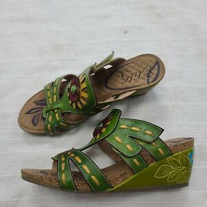 Elite by Corkys size 10 new lime green wedge sandals