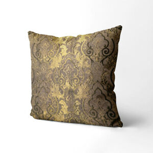 Wk203a Wood Brown Gold Damask Chenille Flower Throw Cushion Cover/Pillow Case