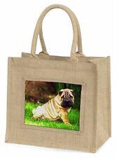 Cute Shar-Pei Dog Large Natural Jute Shopping Bag Christmas Gift Idea, AD-SH1BLN