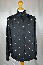 Vintage St Michael High Neck Black Patterned Silky Blouse - Size 12