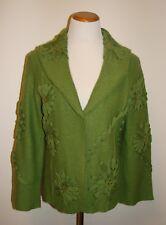 Womans Nancy Bolen City Girl Embelished Green  Silk Blend Cardigan/Jacket Sz S
