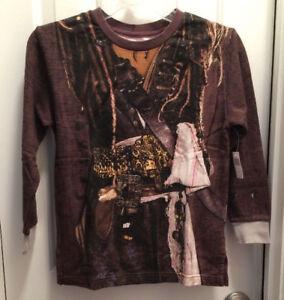 Pirate Shirt Long Sleeve Size(XS-S-M) Jack Sparrow Disney Pirates Caribbean NEW