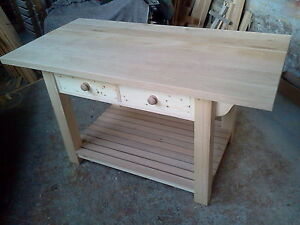 BESPOKE COUNTRY KITCHEN WORKSTATION / TABLE /  ISLAND with SOLID OAK TOP (32MM)