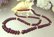 RARE GENUINE NATURAL FACETED HUGE AFRICAN RUBY RUBIES 14K GOLD NECKLACE