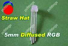 50pcs x 5mm Straw Hat 4pin RGB Common cathode LED (diffused) 120 deg