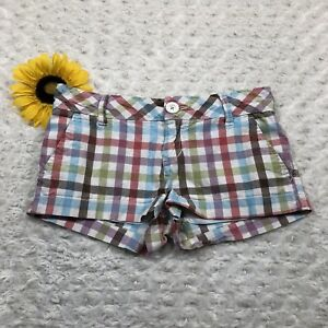 Aeropostale Womens Mini Shorts Size 1/2 Stretch Plaid Khaki Multi Color hr3529