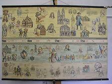 Wandbild Wandkarte Geschichtfries 1500-1789 Neuzeit 120x80cm ~1955 vintage map