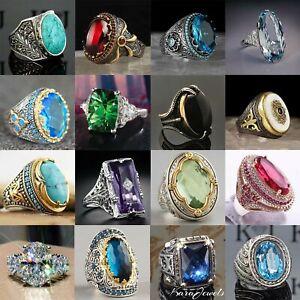 Fashion Women 925 Silver Jewelry Wedding Rings Oval Cut Sapphire Ring Size 6-13
