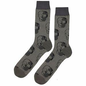 NWT Hidden Skull Dress Socks Novelty Men 8-12 Gray Fun Sockfly