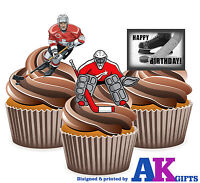 12 Happy Birthday Ice Hockey Mix EDIBLE WAFER CUP CAKE TOPPERS STAND UPS