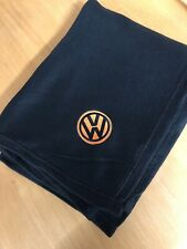 Black Fleece Blanket + Embroidered Vw Style Logo Black And Orange Campervan
